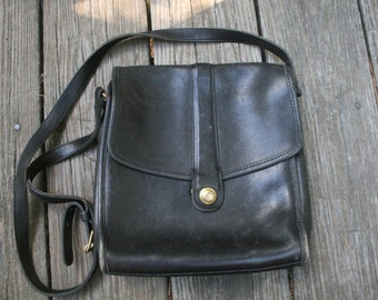 Vintage Black Leather Coach Handbag // Moto Style Coach Cross Body Purse // Motorcycle Style Shoulder Bag // Made in USA // United States