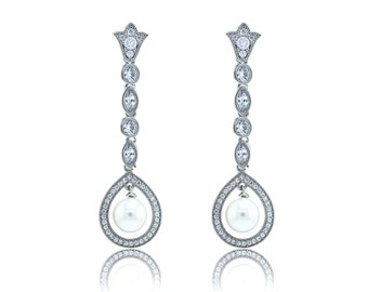 Pearl with Teardrop Frame - Long Dangle Earrings (B36)