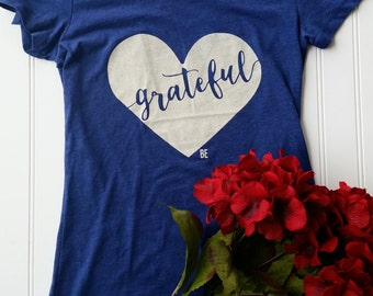 Grateful Heart Navy Tee, blue Tshirt, gratitude tee, thanksgiving tshirt, grateful tshirt, grateful tee, gratitude, blue grateful tshirt