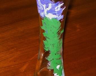 Vase Hand-Painted Vase Beautiful Hand-Painted Glass Vase Artist's Vase