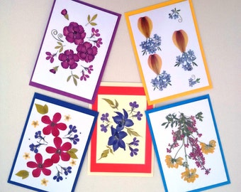 UK Pressed Flower Cards - Set of 5