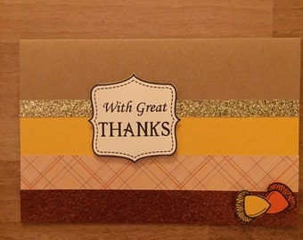 Greeting Card/invitation/Fall/Thanksgiving/fall colors/with great thanks/handmade/customize