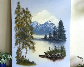vintage original landscape painting, acrylic lake trees mountains, 80s
