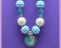 Little Girl Necklace, Frozen Necklace, Elsa Jewelry, Chunky Bead Jewelry, Gifts for Little Girls, Kids, Toddler Jewelry, Blue
