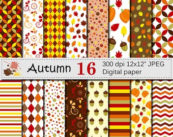 Autumn Digital Paper Set with Pumpkin, Acorn and Leaves, Fall Digital Scrapbooking papers, Autumn Patterns, Instant Download
