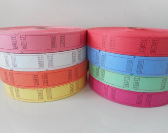 Blank Raffle Tickets, Various Colors and Quantities