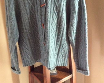 1990's Vintage Eddie Bauer hooded sweater with wooden buttons