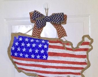 Customizable USA map burlap door hanger