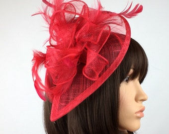 Red sinamay fascinator, Feather Fascinator on a hairband, horse races, weddings, special occasions, valentines day, fascinators