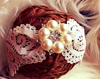 Lace and sparkling Crystal rhinestone with Pearl Clusters Baby Headband