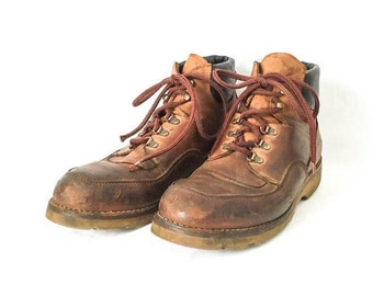 Men's work boots 11 12 - Redwing work boots - Leather Work boots - Brown leather boots - Distressed hiking boots - Hipster distressed boot