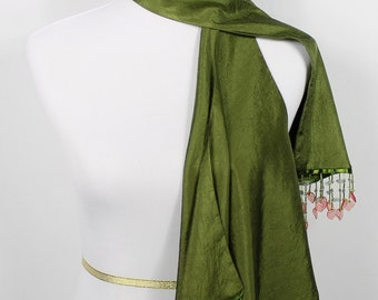 Fern Green Scarf w/ Beads