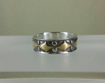 925 sterling silver stamp  ring/antique silver band ring /silver and yellow gold ring/925 streling silver band ring