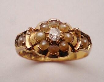 Antique Victorian 18ct Gold Ring Chester Hallmark 1864