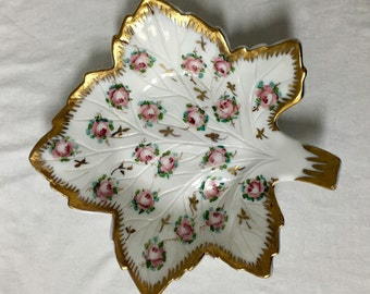 Westmoreland Hand Painted Milk Glass Maple Leaf Candy Dish