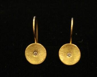 solid gold earrings,diamond earrings,diamond gold earrings,wedding earrings,delicate earrings,bridal earrings,gold earrings,dangle earrings