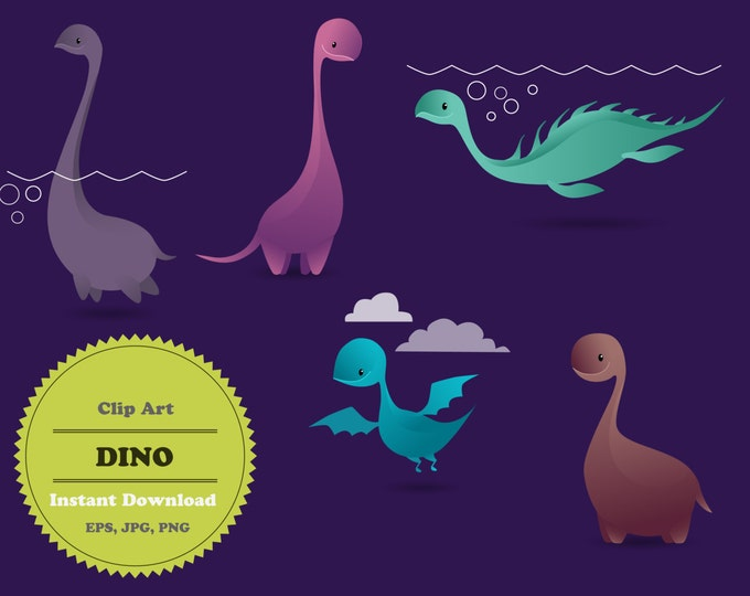 Dino clipart, Dinosaur clipart, Animal Clipart, Clipart Elements, Sticker, Scrapbooking, Instant Download, JPG, PNG, EPS