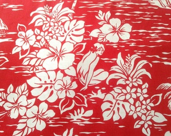 Red Hawaiian Print Fabric, Tropical Island, Hibiscus, Palm Tree, Waves, 100% Cotton Poplin, Material for Hawaiian Shirt