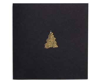 Christmas cards handmade with gold jewelled Christmas tree on black card