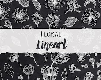 Floral Lineart - Digital File - Printable Clipart - Instant Download