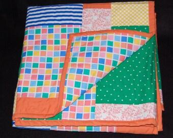 Modern Baby Quilt - Crib Size - Orange-Blue-Green-Yellow-Peach