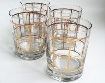 4 Plaid drinking glasses