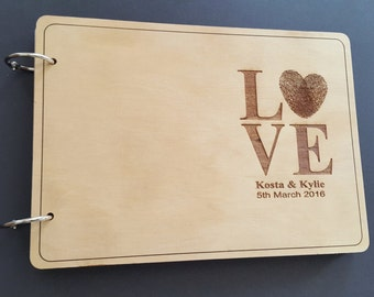 Personalized Wooden Wedding Guestbook, A5 size