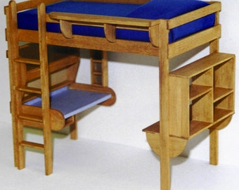 CHILDREN'S LOFT BED with desk and storage woodworking furniture plans
