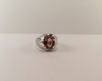 Pink topaz and sterling silver ring