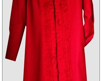 Coat red wool BRT5007 Womens flannel, size M / L