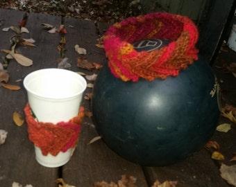 Coffee Sleeve and matching headband Crocheted Dragon edition.
