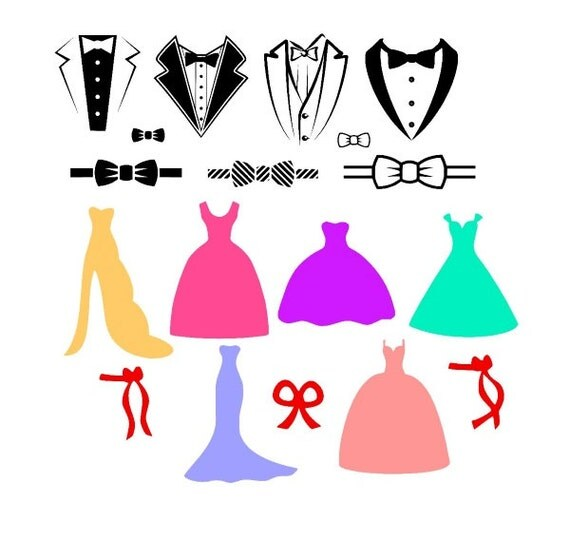 Wedding Gown Clip Art: Dress And Tuxedo Wedding Party Svg Files For By
