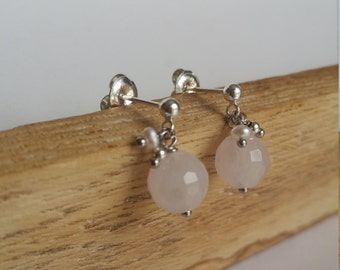 Little stone - Quartz pink and Silver 925 earrings