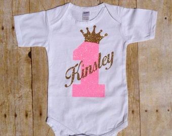 First Birthday Bodysuit/ Shirt NUMBER and NAME with CROWN Custom Birthday Shirt