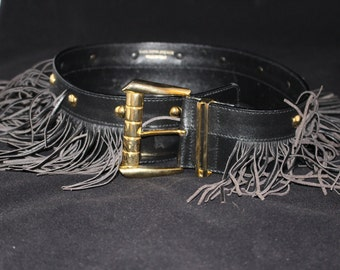 VINTAGE Saks Fifth Avenue Black Leather Fringe Belt Size 34 Made in Italy
