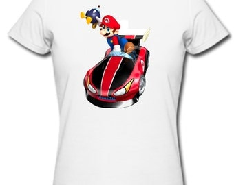 Mario cart t shirt luigi princess peaches nintendo wiisuper mario bros first class post uk adults &kids