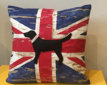 Labrador Union Jack cushion