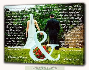 First dance lyrics to canvas, words and picture on canvas, canvas pictures, Dance Lyrics, Bridesmaid Gift, Groomsmen Gift, Husband Gift