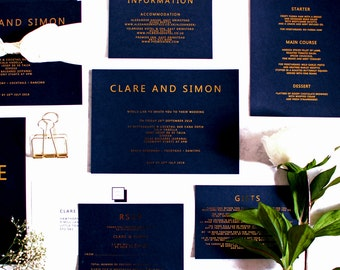 SAMPLE PACK - Wedding Invitation Gold Foil Black and Gold contemporary