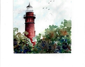 Watercolor print of the Corolla Lighthouse, Outer Banks, North Carolina