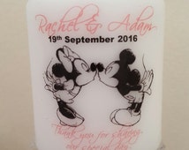 Personalised Disney Wedding favour candle Minnie mickey design - also for same sex/gay weddings