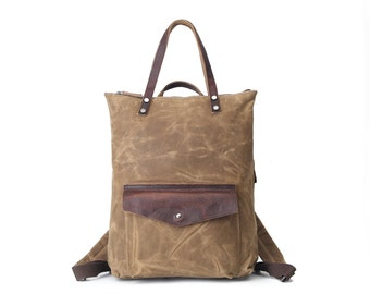Tote & Backpack, Multi-functional Waxed Canvas Bag (Khaki)