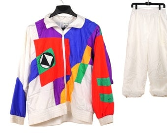 Vintage Colorful 2-Piece Windbreaker Suit