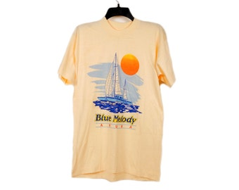 Vintage Blue Melody Aruba Sailboat Tee