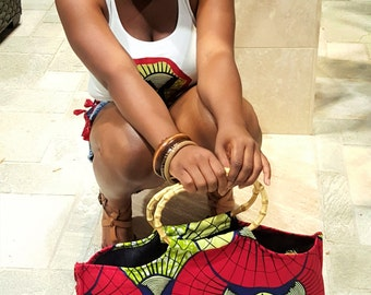 African head wrap, belt and purse