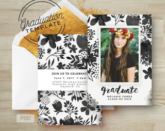 Graduation Invitation Template - Floral Grad Card - Printable Grad Announcement Card - PHOTOSHOP TEMPLATE - Photo Marketing Template