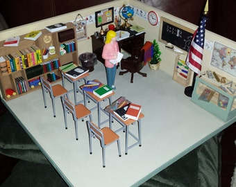 Miniature Classroom with Teacher Diorama Handcrafted