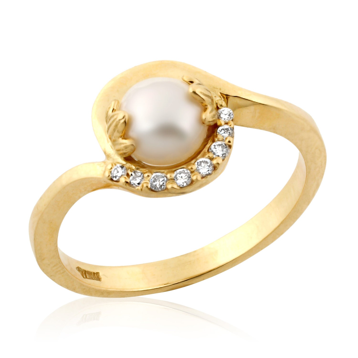Pearl Wedding Ring: Pearl Engagement Ring Pearl Diamond Ring June Birthstone