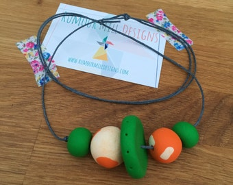 RMD 'Upsilon' necklace - BOLD, statement necklace in green & orange - super cool