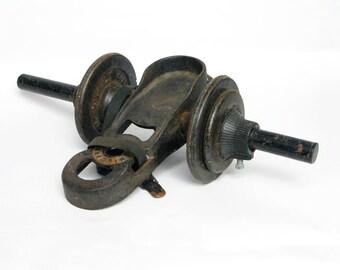 vintage industrial Billard weightlifting cast iron shoe boot weights sculpture home decor